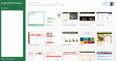Excel 2013 Preview initial screen